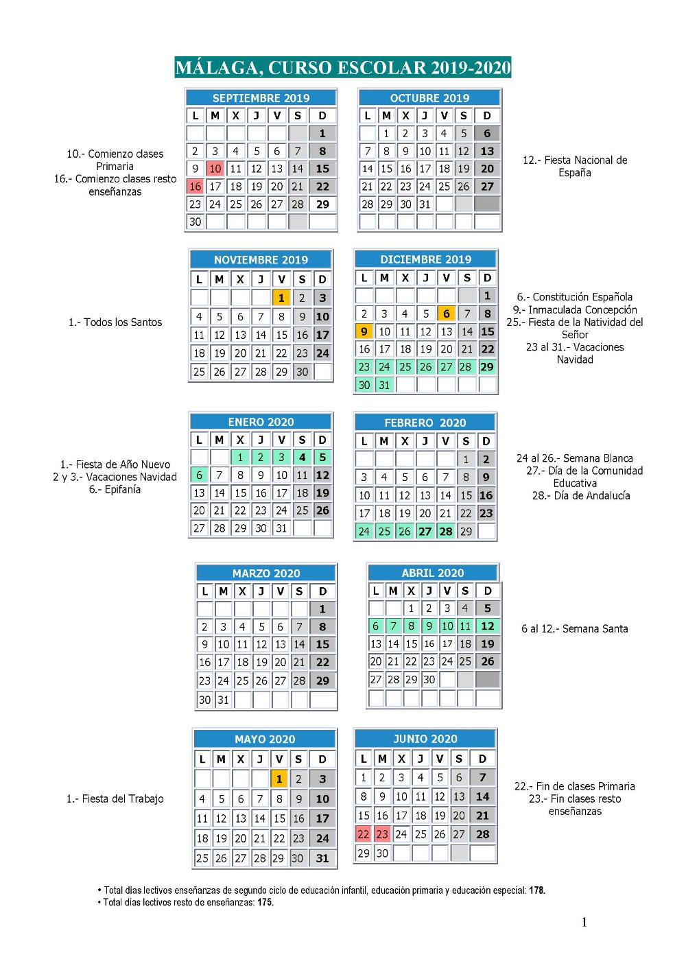 Calendario Escolar Curso 2019 2020 Educación En Málaga Calendario Escolar Calendario Cursillo