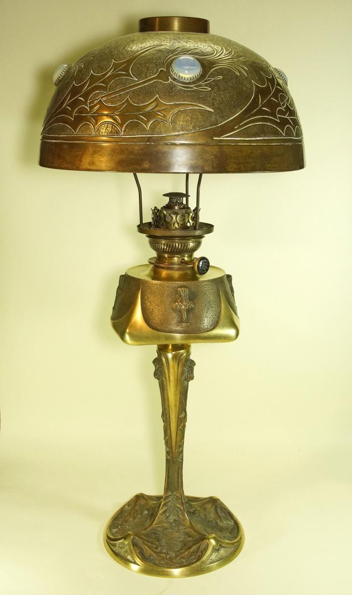 georges leleu lampe art nouveau en bronze salon 1904