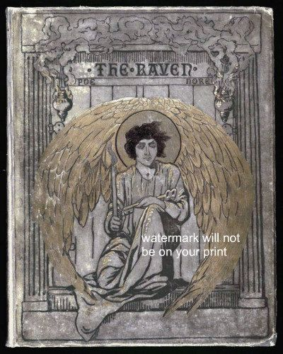 The Raven Antique Vintage Book Cover Print Angel Gothic Wall Art Edgar Allen Poe Edgar Allan Poe Gustave Dore Edgar Allen Poe