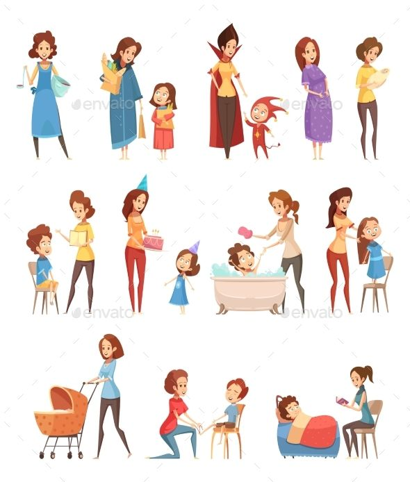 f1e5811069fae Motherhood child-rearing shopping playing walking reading to kids retro  cartoon icons 3 banners set isolated vector illustration.