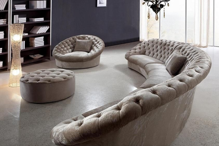 Round Sectional Sofa In 2020 Fabric Sectional Sofas Modern Sofa Sectional Curved Sofa