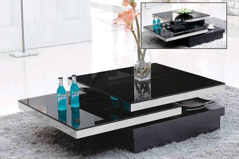modern coffee table black glass swivel