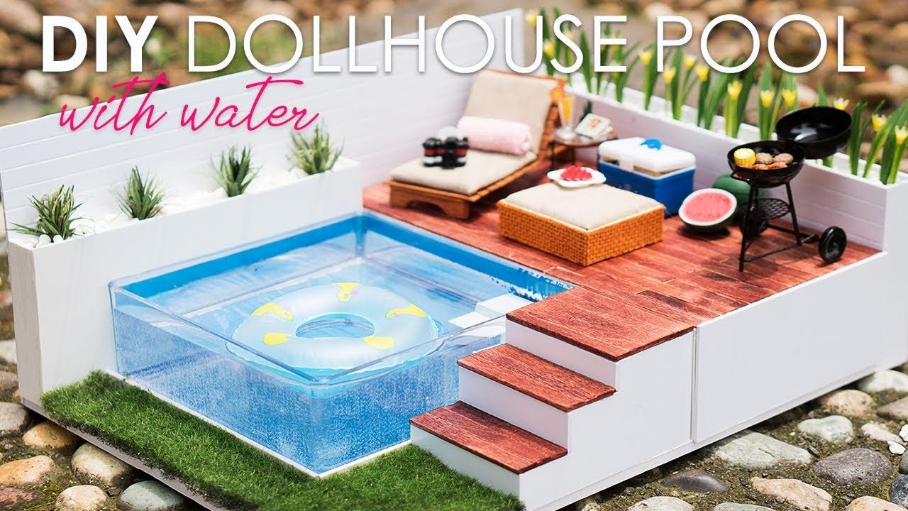 Diy Dollhouse Swimming Pool Set Tutorial For Nendoroid Lps Dolls Dollhouse Miniatures Diy Diy Dollhouse Doll House Crafts