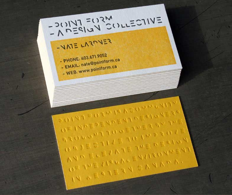 Yellow embossed letterpress business card print style pinterest yellow embossed letterpress business card reheart Gallery