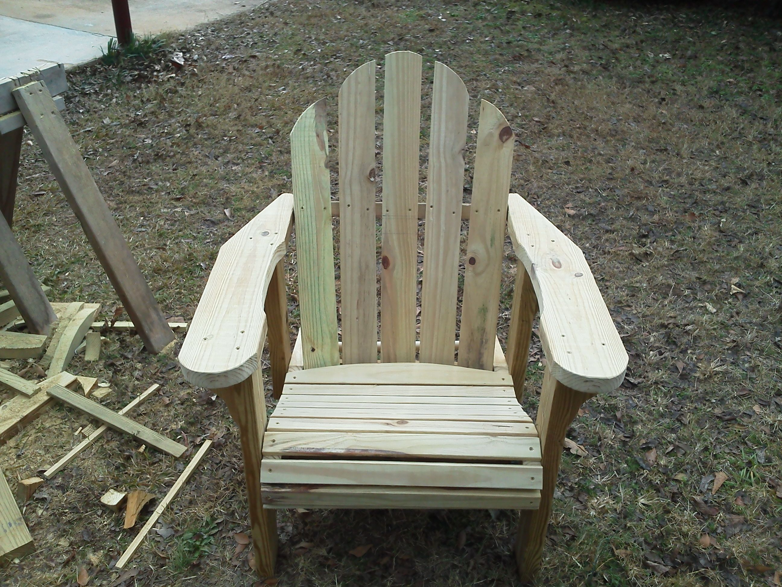 Adirondack Chair made from pressure treated lumber