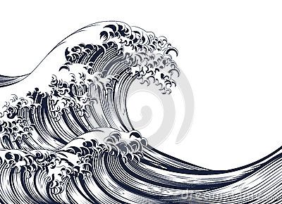 Image result for the great wave line drawing Wave