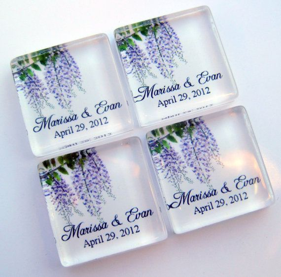 Wisteria Wedding Favor Magnets One Inch Square Gl Personalized 50 Favors