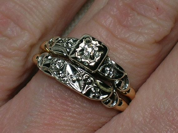 Vintage Wedding Rings Set Ornate Two Tone with Old Mine Cut