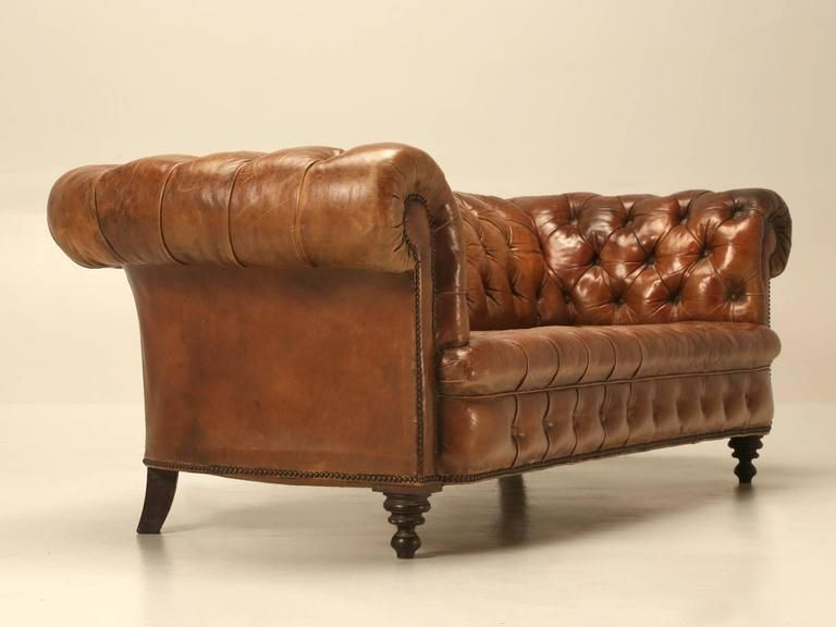 Antique Leather Chesterfield Sofa In Original Leather Leather Chesterfield Sofa Chesterfield Sofa Leather Chesterfield