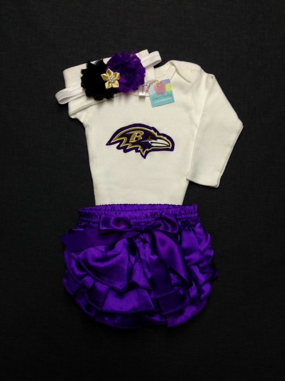 3463f7207ac NFL Ravens Bodysuit, Diaper Cover and Headband Set Made from ...