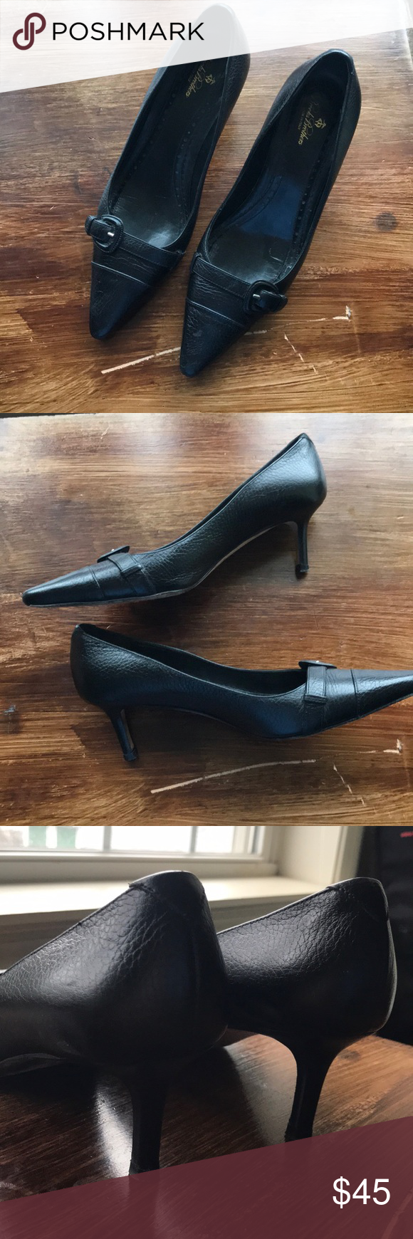0e5b81804be Brooks Brothers black leather with kitten heel GUC. Wear on soles (see  photos) but overall great condition. Leather upper