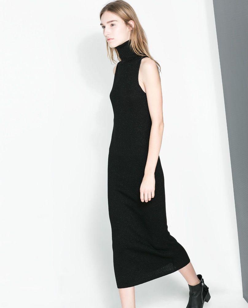 28313706 ZARA Midi Shimmer Turtleneck Sleeveless Knitted Sweater Jumper Bodycon Dress  #ZARA #Midi #Casual