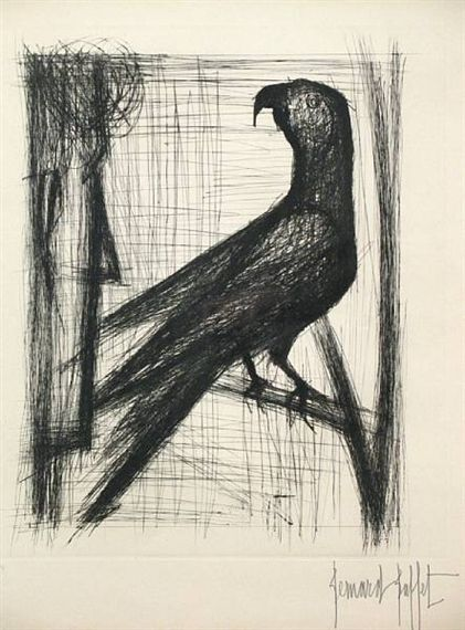 Bernard Buffet - Pl. 11, from Voyages Fantastiques; Creation Date: 1958; Medium: Drypoint on Rives BFK paper; Dimensions: 20.5 X 17 in (52.07 X 43.18 cm)