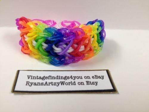 d4a8d486d252 Colorful Glitter Arrow Stitch Rainbow Loom Bracelet Rubber Band ...