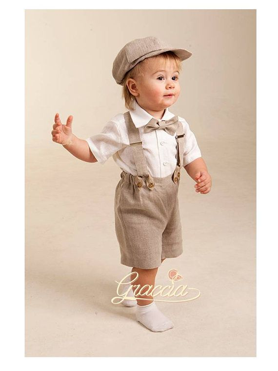 Newsboy ring bearer outfit Baby boy linen suit Baptism shorts with  suspenders newsboy hat Rustic wedding boy formal suit Boy natural clothes 140e4c22458e