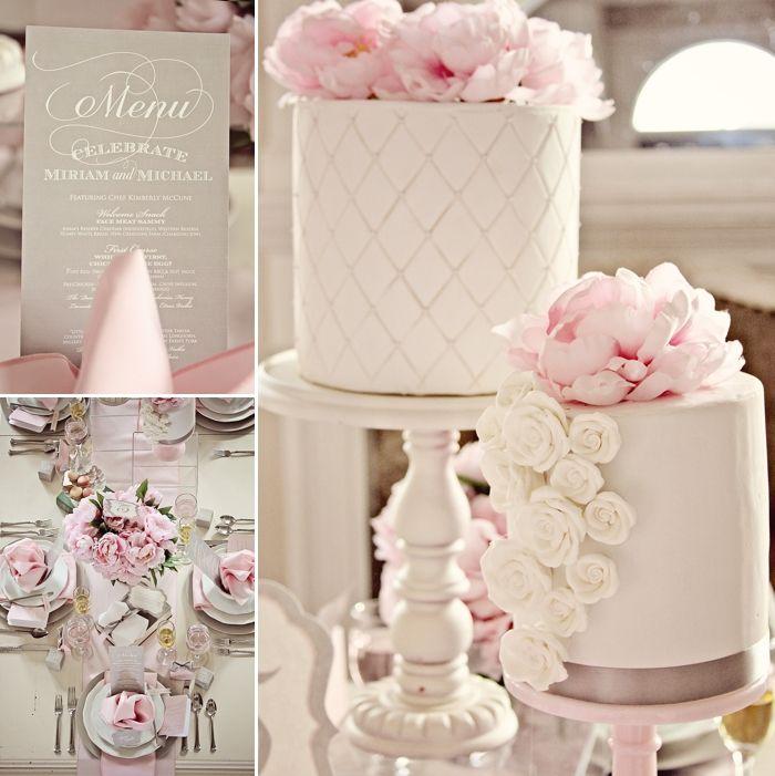 G teau mariage rose et gris faire part mariage classique mariage romantique pinterest - Deco rose poudre ...