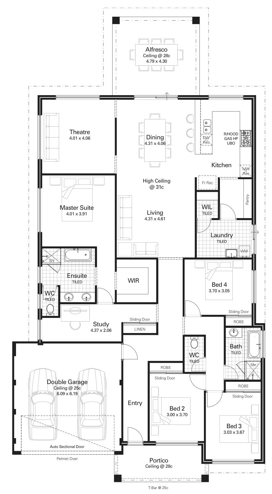 Floor Plan Friday 4 Bedroom Study High Ceilings Kitchen On The Rear Floor Plans Dream House Plans How To Plan