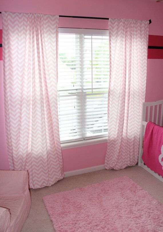 Light Pink And White Chevron Curtains Extra By Shesewscurtains