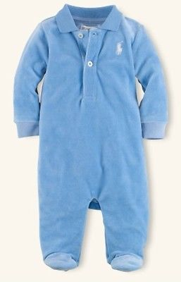 08ea1ef923bfc NEW Polo Ralph Lauren Baby Boy Velour Layette Romper Coverall Footed 3 M NWT