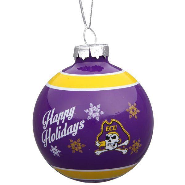 East Carolina Pirates Happy Holidays Glass Ball Ornament
