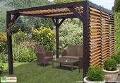 Photo of Ombra Pergola with Orientable Blades Side and Wooden Roof