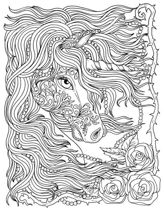 Unicorn And Pearls Fantasy Coloring Page Adult Coloring Instant