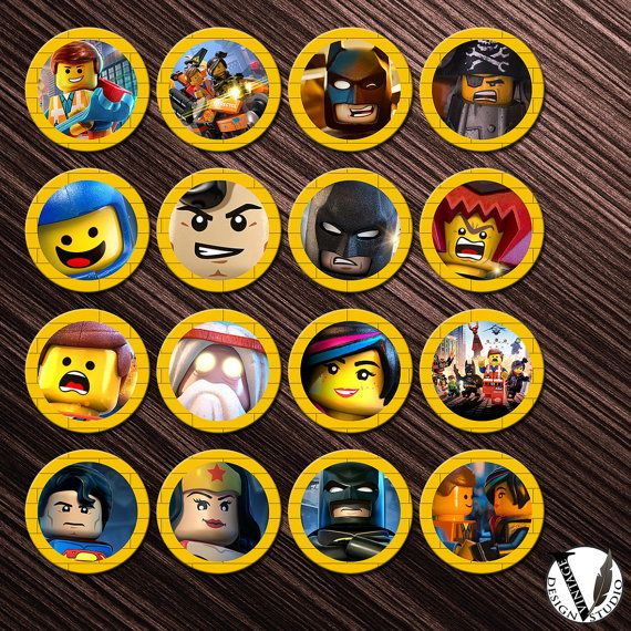The LEGO Movie Birthday party Cupcake Toppers Images 2 inch