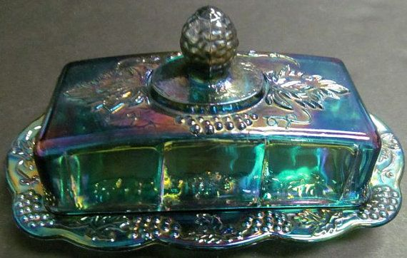 Blue Carnival Glass Covered Butter Dish in by Putzasmileonmyface, $25.00