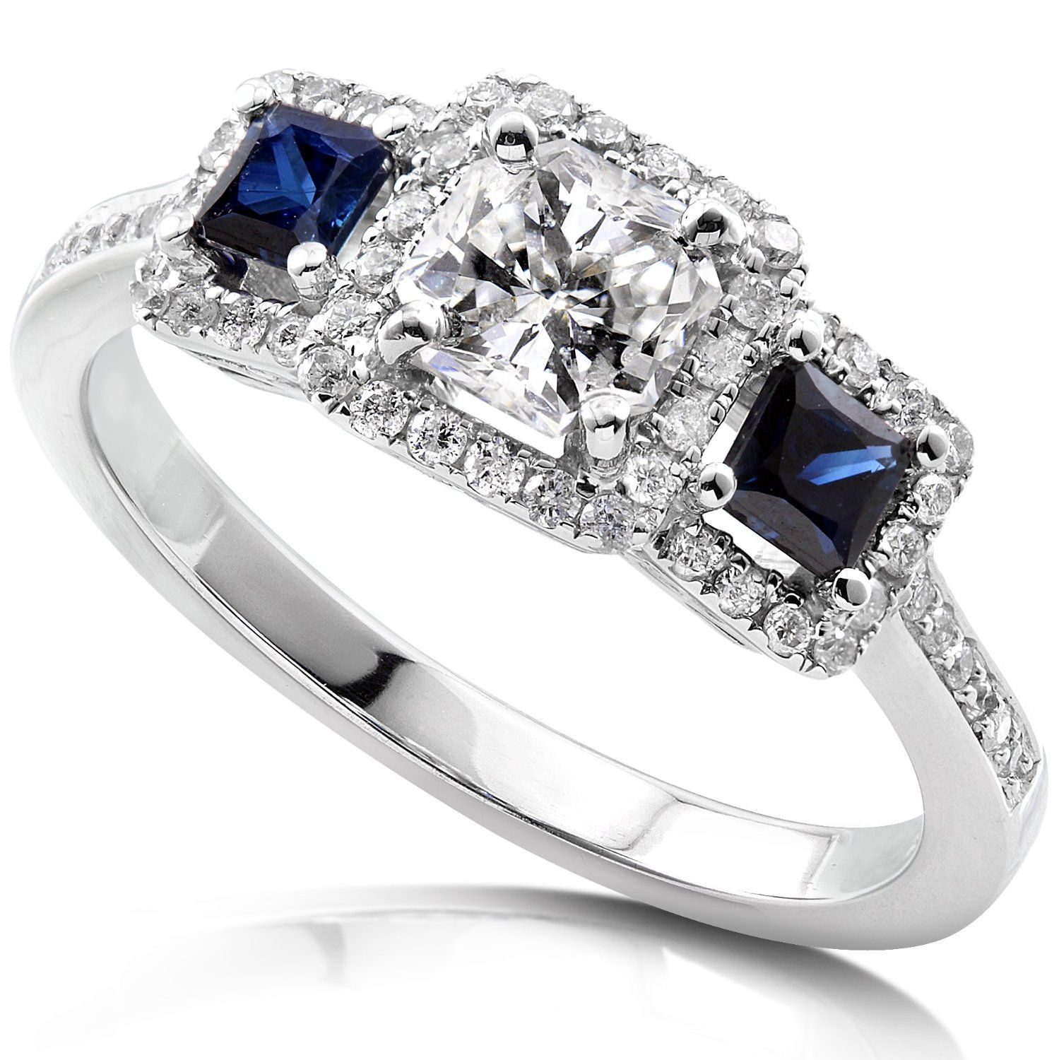 sapphire wedding band Annello by Kobelli 14k White Gold 7 8ct TDW Diamond Blue Sapphire Ring by Kobelli H I SI2 SI3 by Annello