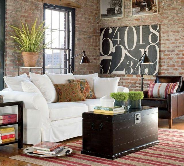 Wohnzimmer Style wohnzimmer country style unverputzte ziegelmauer weißes polstersofa