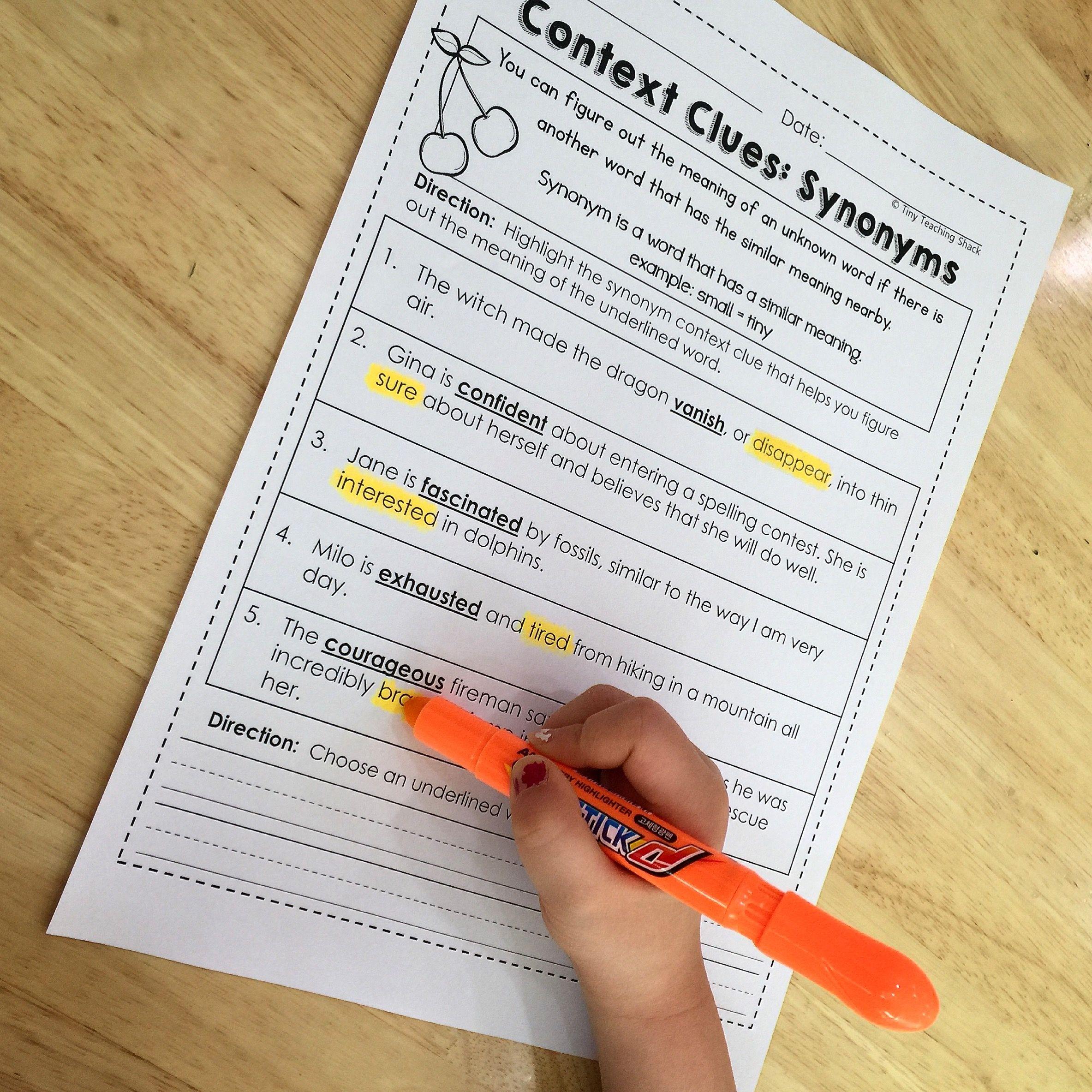Context Clues Common Core No Prep Practice Sheets Ela Middle
