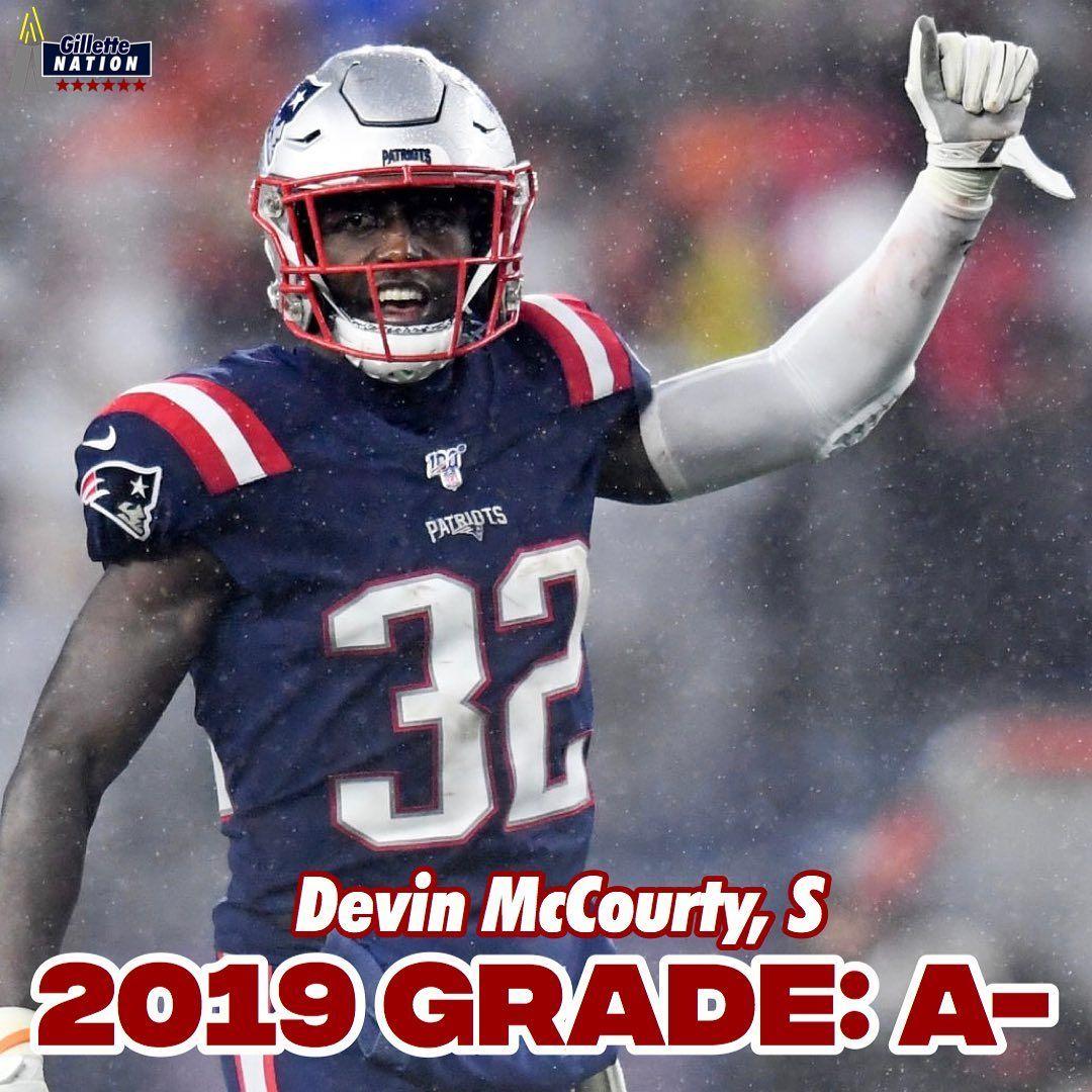 2019 Player Grades Devin Mccourty S 32 16 G 58 Tkl 5 Int 49 Yds 7 Pd 2 Ff Fr 2019 Gra In 2020 New England Patriots England Patriots Football Helmets