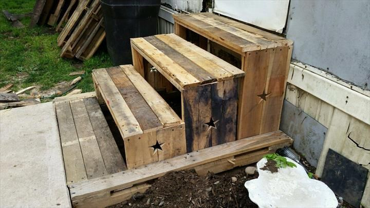 Diy Pallet 3 Step Stairs 100 Reclaimed Pallet Stairs Diy   3 Step Wooden Stairs   2 Step   Easy   Stringer   Tread   Outside