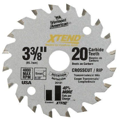 Vermont American 26101 15mm Arbor 3 3 8 Inch 20 Tooth Xtend Cordless Circular Saw Blade Check Out The Image By Vi Circular Saw Blades Saw Blade Circular Saw
