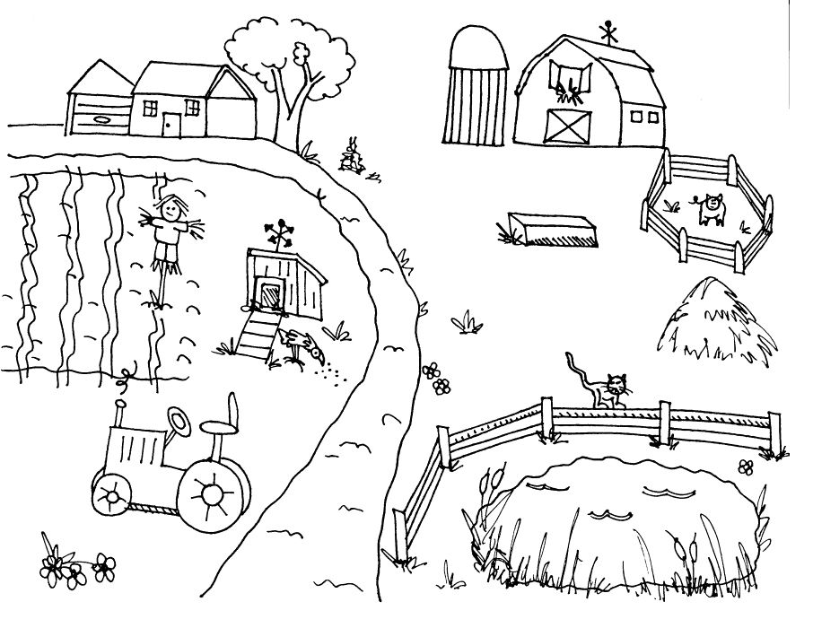 The Atmosphere At The Farm Coloring Pages Farm coloring