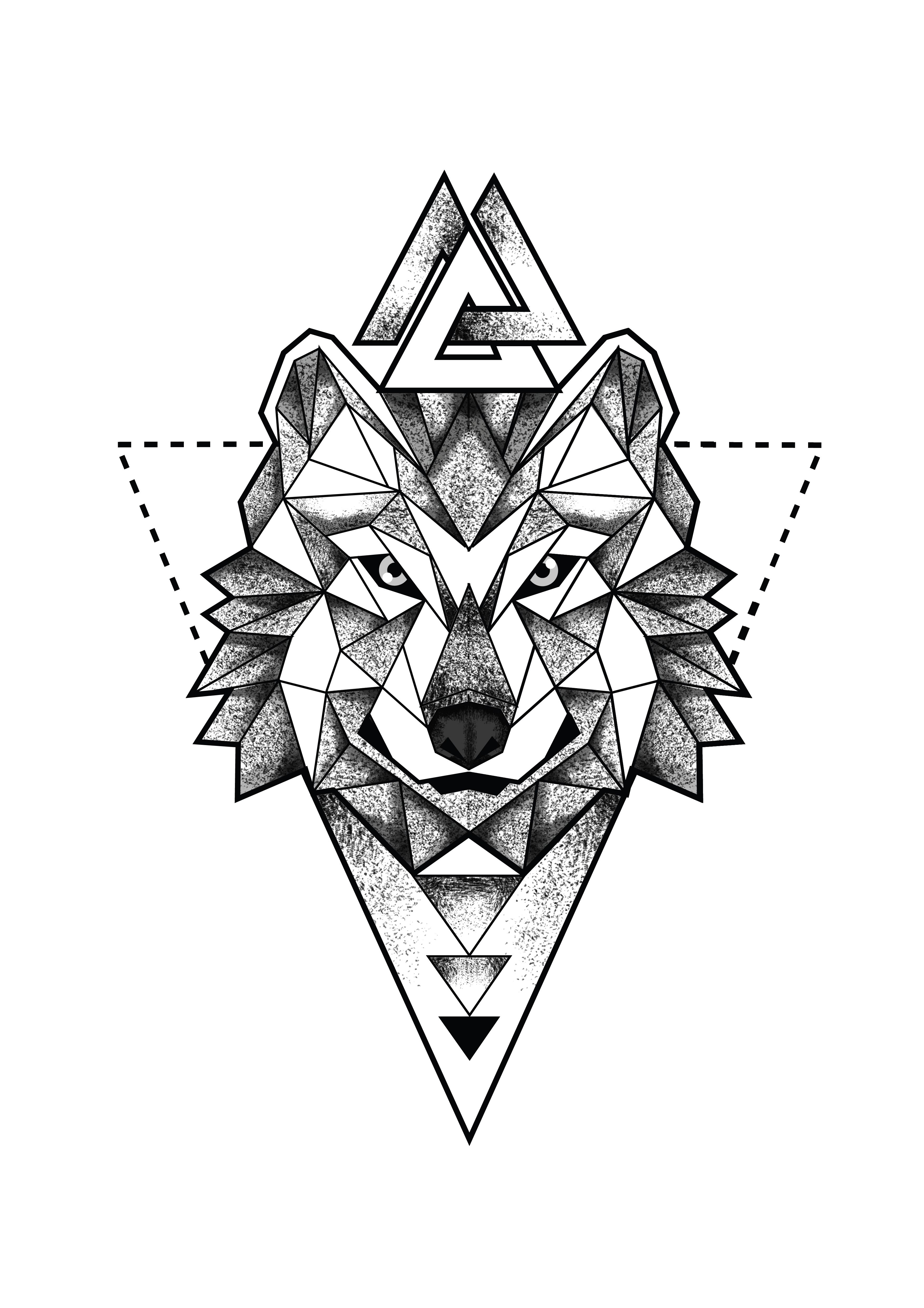 Geometric Wolf Head Portrait Triangles Dotwork Tattoo