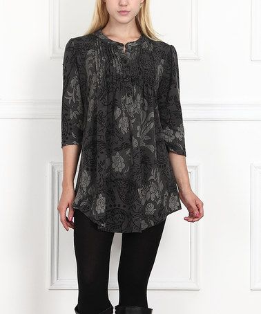 Muted, feminine, floral tunic. On #zulily: Charcoal Floral Notch Neck Tunic - Women #zulilyfinds