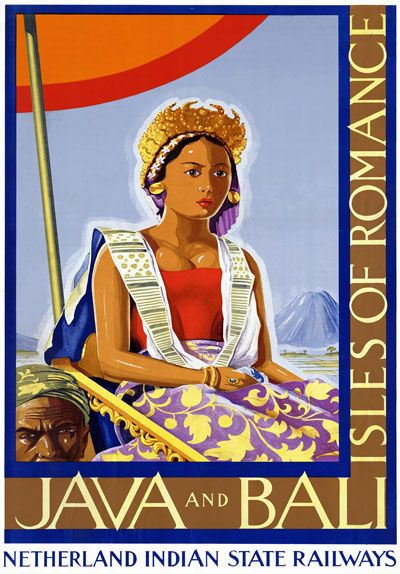 Vintage India  Java  Bali Travel  Poster