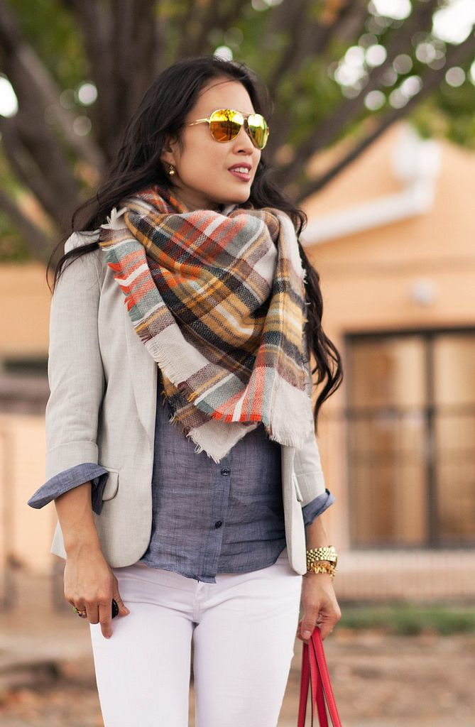 cute & little blog | petite fashion | maternity baby bump pregnant | fall outfit | grey blazer, zara plaid blanket scarf, chambray shirt, white jeans, gold pumps, kate spade red bag, oakley mirrored sunglasses | third trimester 29 weeks #giveaway