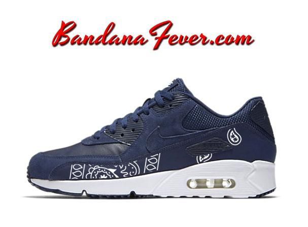 new style 90a6d dbf0e Custom White Bandana Nike Air Max 90 Ultra Shoes Midnight Navy Summit White,   Nike, by Bandana Fever
