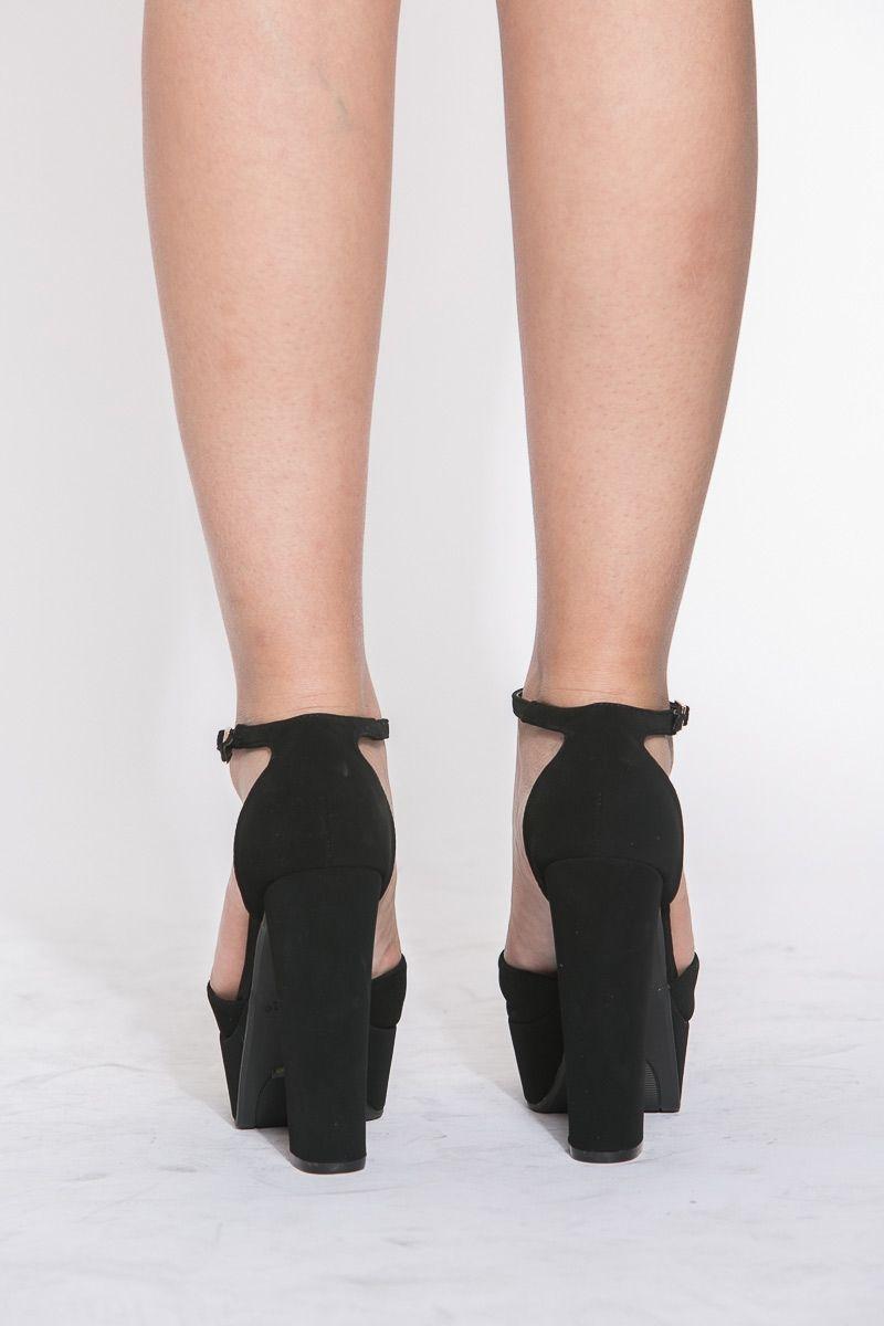 b2440556d77 Black Faux Suede Ankle Strap Chunky Platform Heels   Cicihot Heel Shoes  online store sales Stiletto Heel Shoes