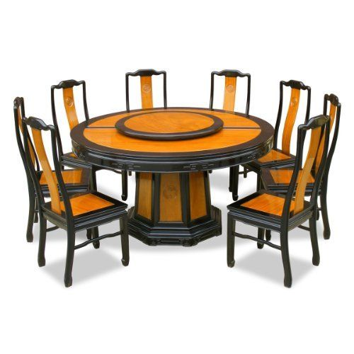 60in Rosewood Round Dining Table With 8 Chairs Chinese Longevity