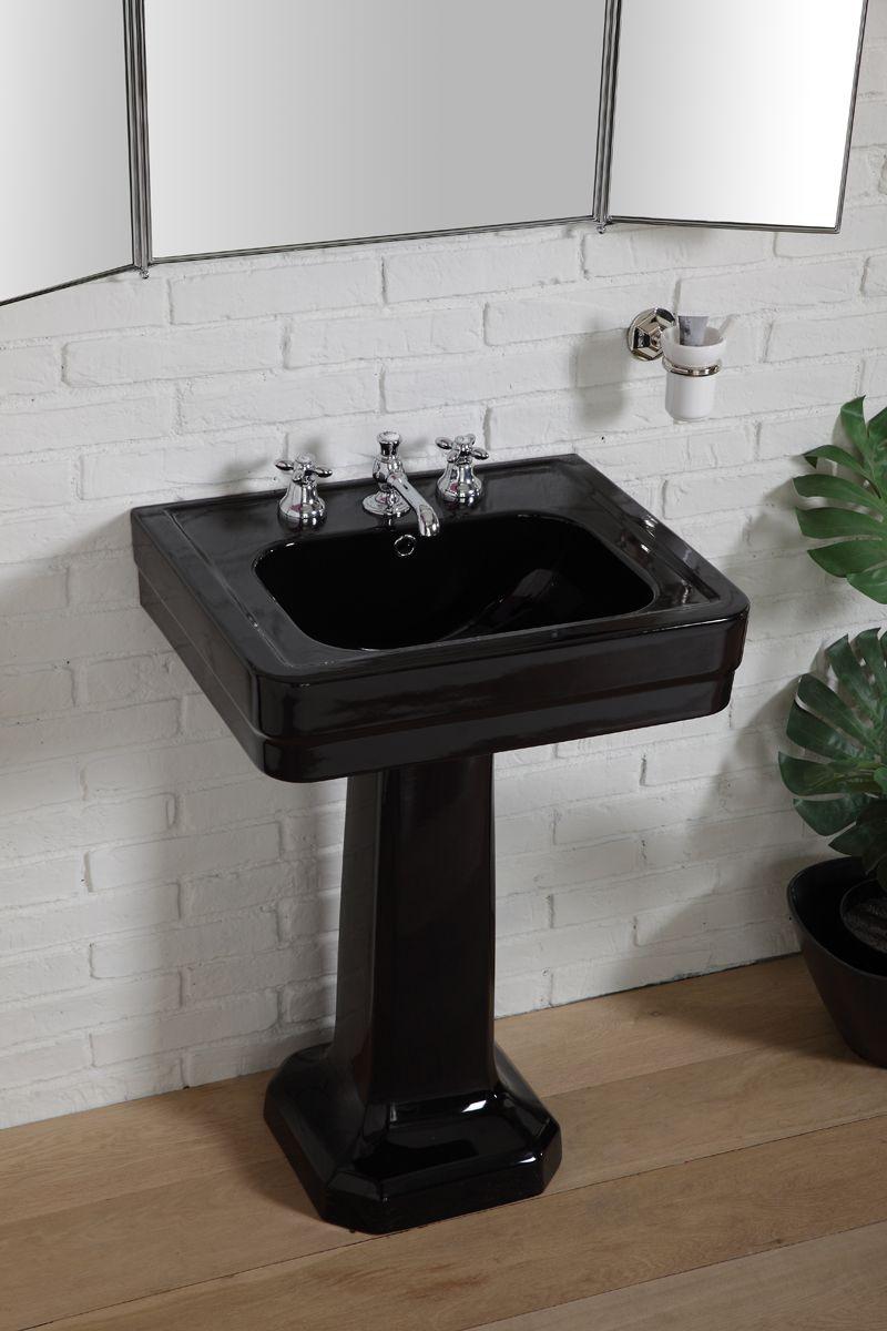 Lavello Cucina In Porcellana lavabo couleur série provence'900 60cm noir brillant by bleu