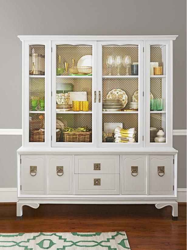 display cool finds and nice china in a hutch the backdrop inside is actually radiator