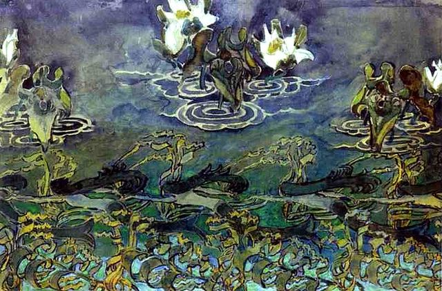 Vrubel, Mikhail (1856-1910) - 1890s Water Lilies (The State Art Museum Abramtsevo, Moscow, Russia) -Russian Art Nouveau