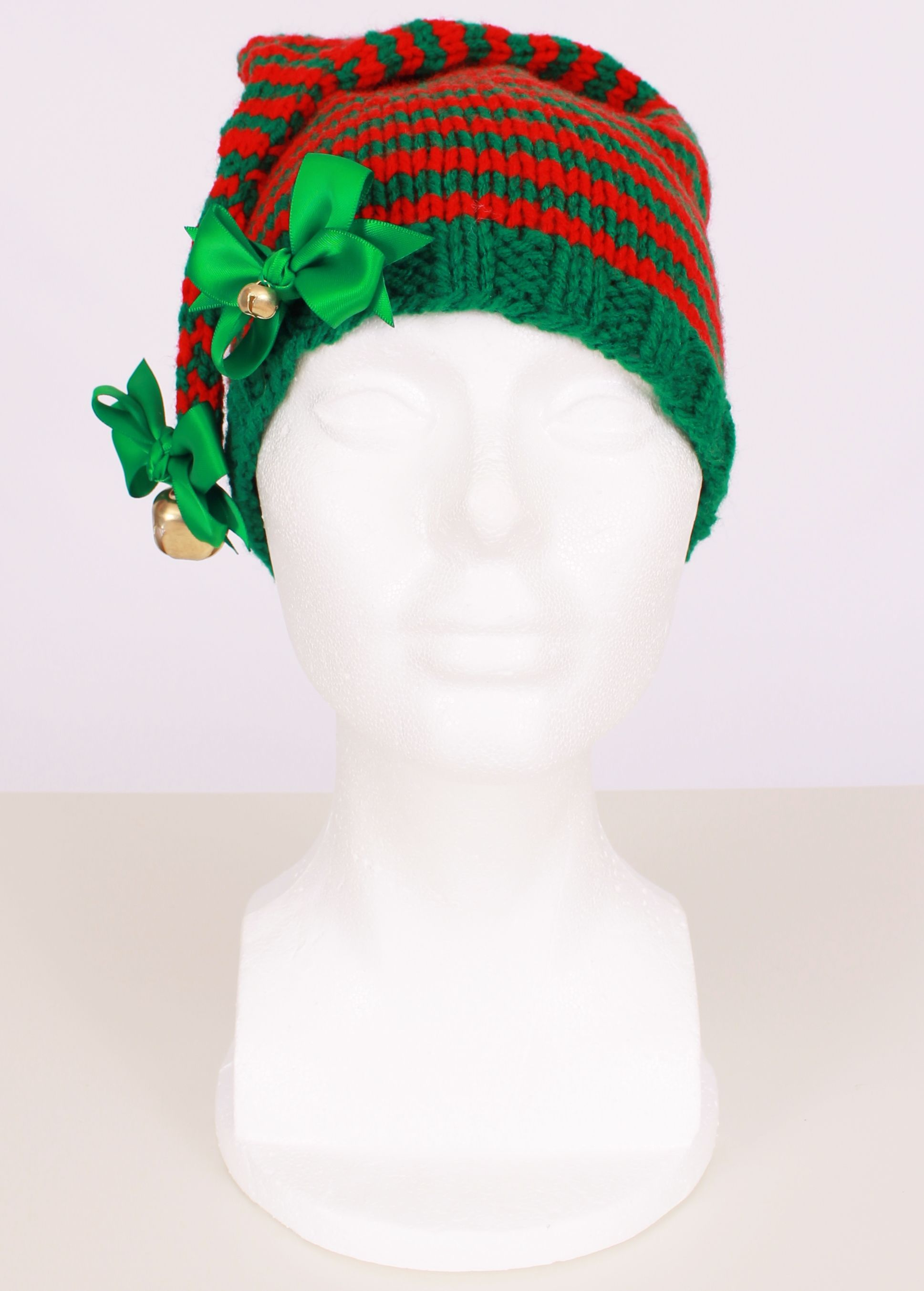 Red and Green Crochet Elf Hat for toddler girls From Cutie Patootie ...