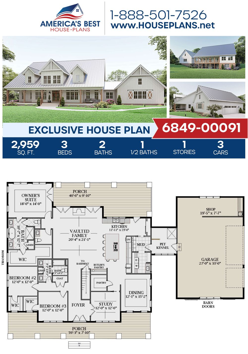 House Plan 6849 00091 Modern Farmhouse Plan 2 959 Square Feet 3 Bedrooms 2 5 Bathrooms In 2020 Exclusive House Plan Modern Farmhouse Plans Craftsman House Plans