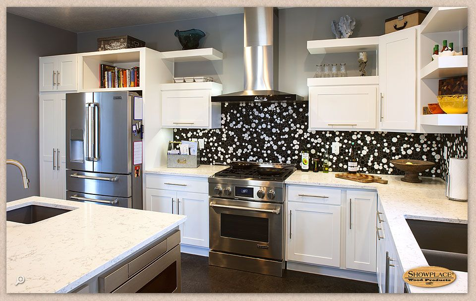 Cabinets Floating Shelves Accent This Showplace Painted Kitchen Geometric Kitchen Cabinet White Kitchen Cabinets