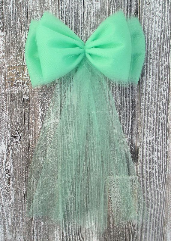 Mint Green Tulle Pew Bow for weddings, events, bridal and baby showers, chair bows, parties, and more.
