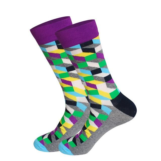 Geometry PatternCrazy Socks Casual Cotton Crew Socks Cute Funny Sock Great For Sports And Hiking